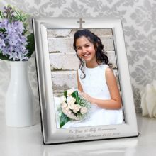 Personalised Silver Plated 5x7 Elegant Cross Photo Frame P0102D31